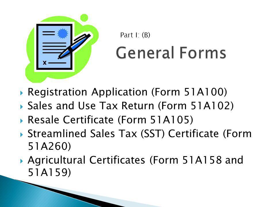 General Forms Registration Application (Form 51A100)