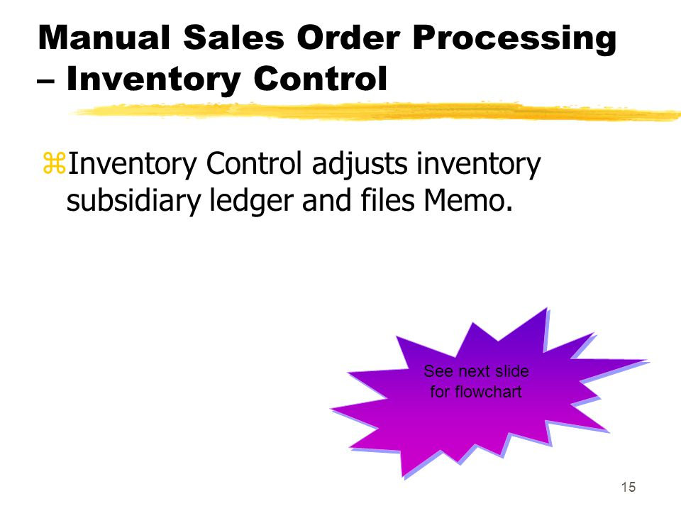 Manual Sales Order Processing – Inventory Control