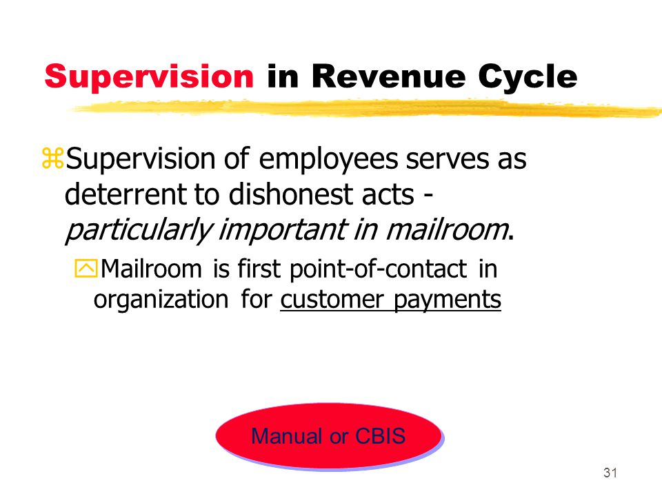 Supervision in Revenue Cycle