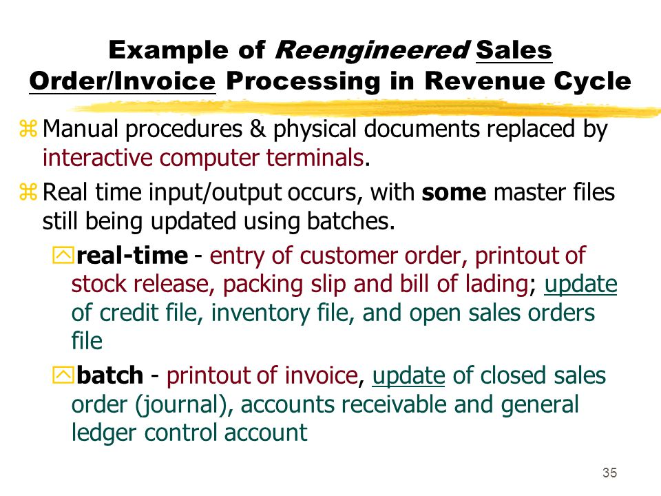 Example of Reengineered Sales Order/Invoice Processing in Revenue Cycle