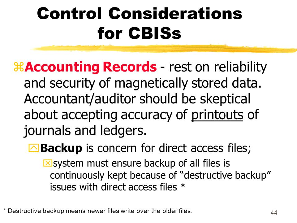 Control Considerations for CBISs