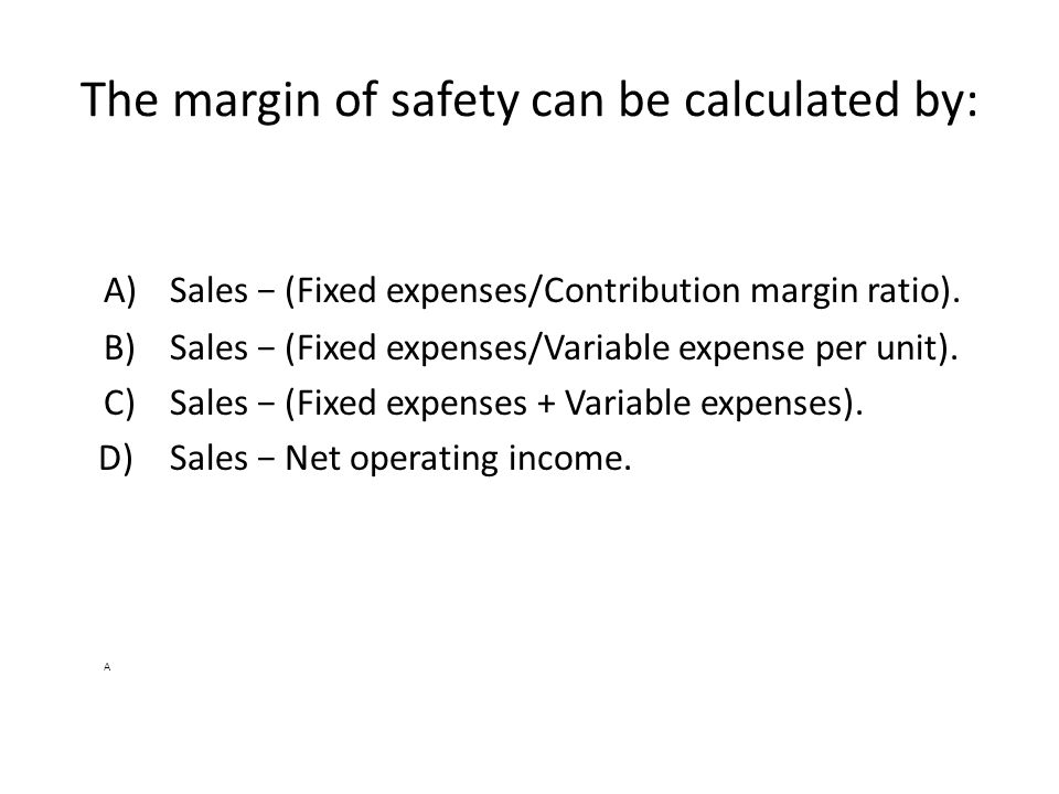 The margin of safety can be calculated by: