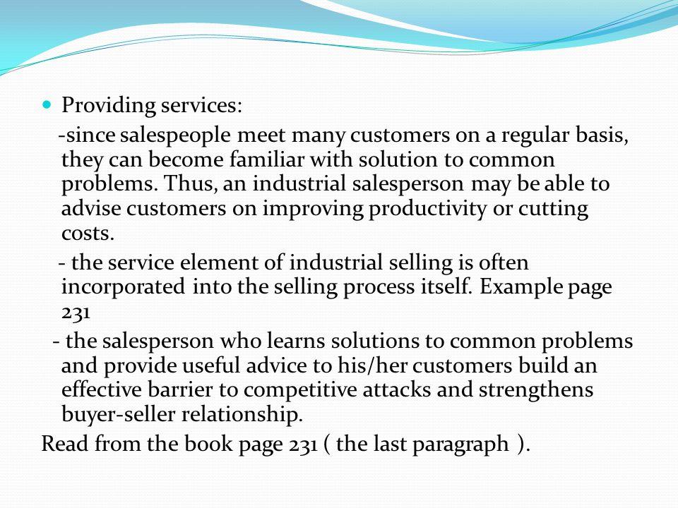 Providing services: