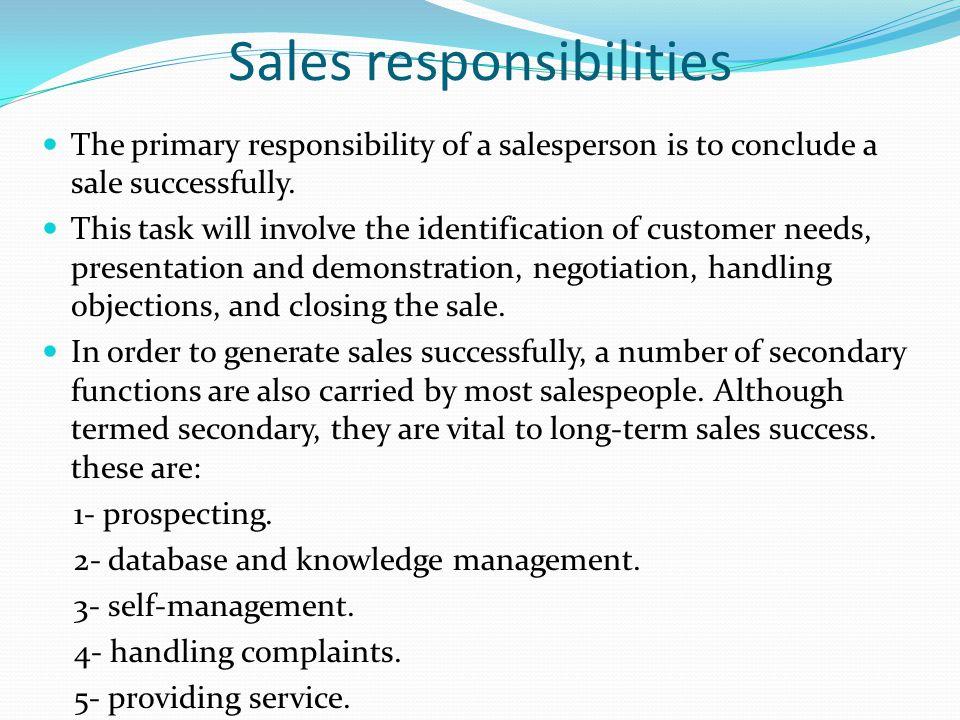 Sales responsibilities