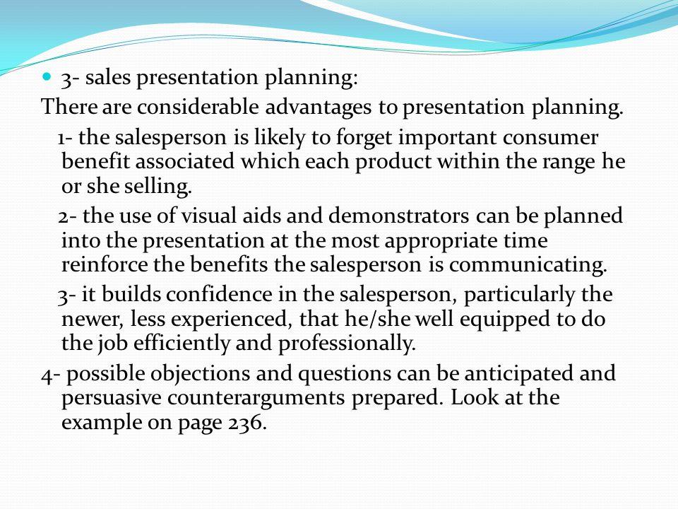 3- sales presentation planning: