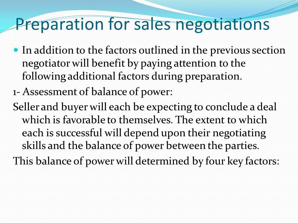 Preparation for sales negotiations