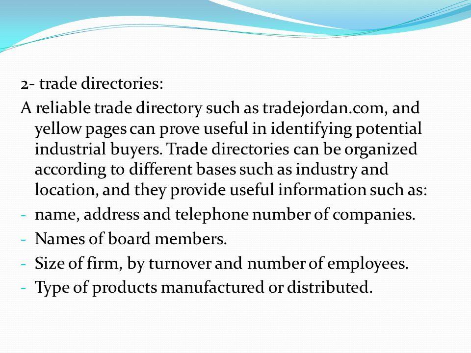 2- trade directories: