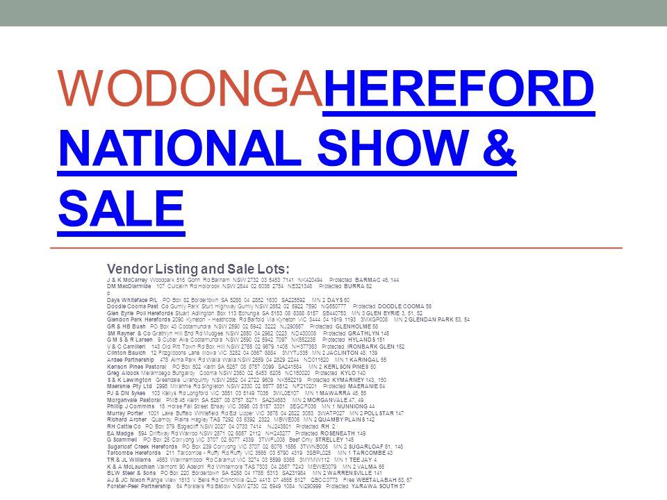 WodongaHereford National Show & Sale