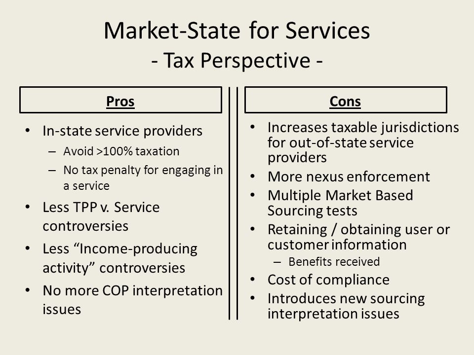 Market-State for Services - Tax Perspective -