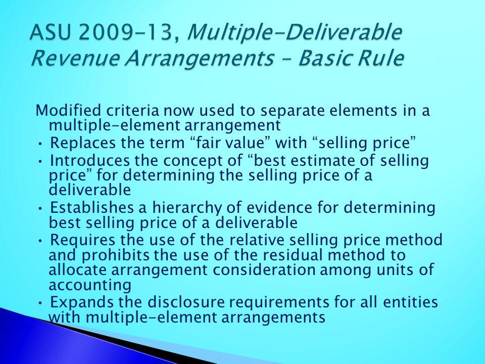 ASU 2009-13, Multiple-Deliverable Revenue Arrangements – Basic Rule