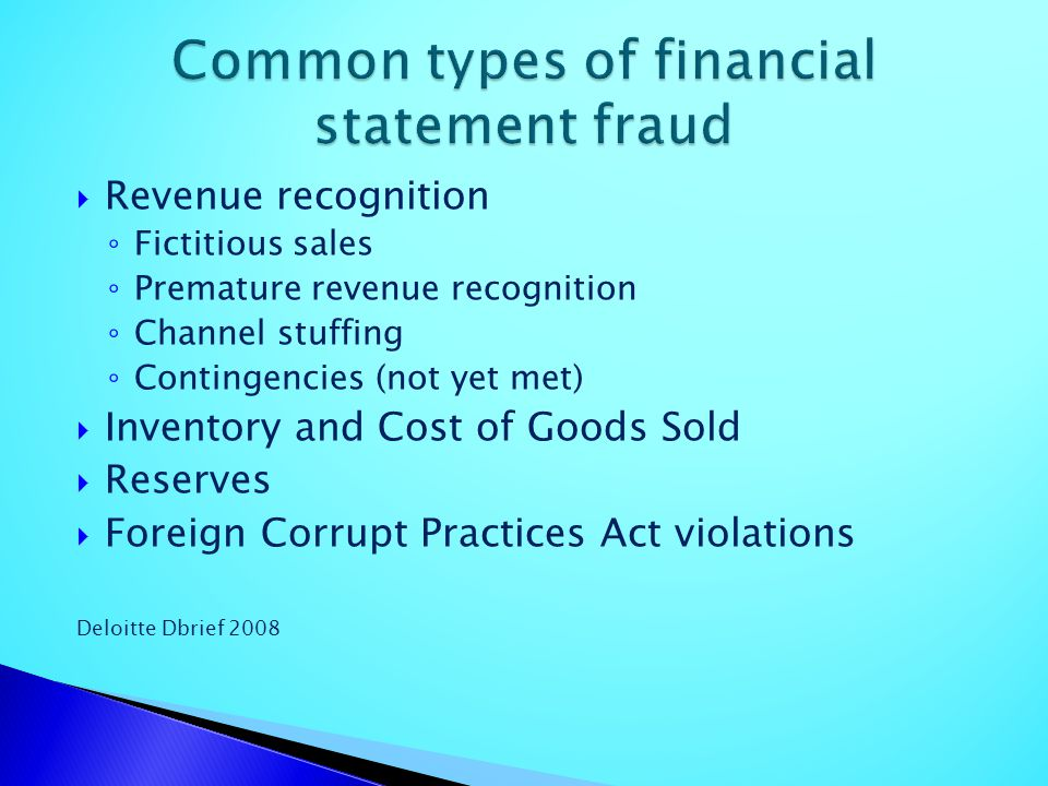 Common types of financial statement fraud