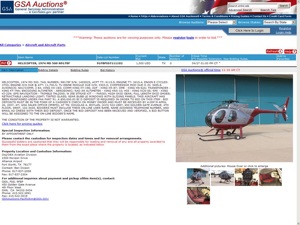 Sample of Item Description page of aircraft selected.