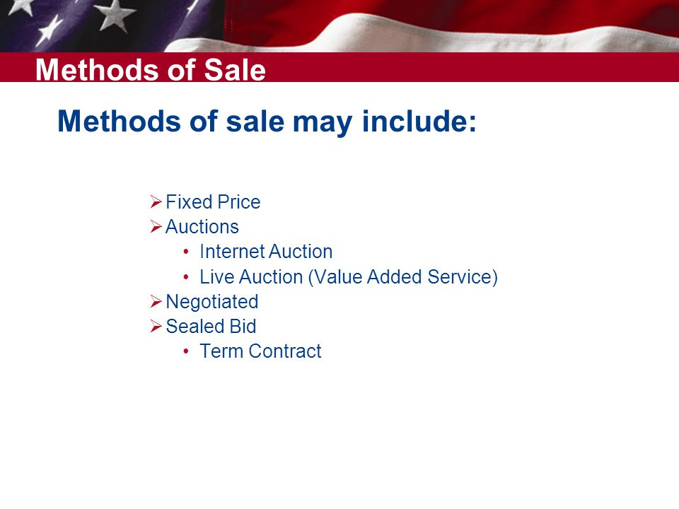 Methods of sale may include: