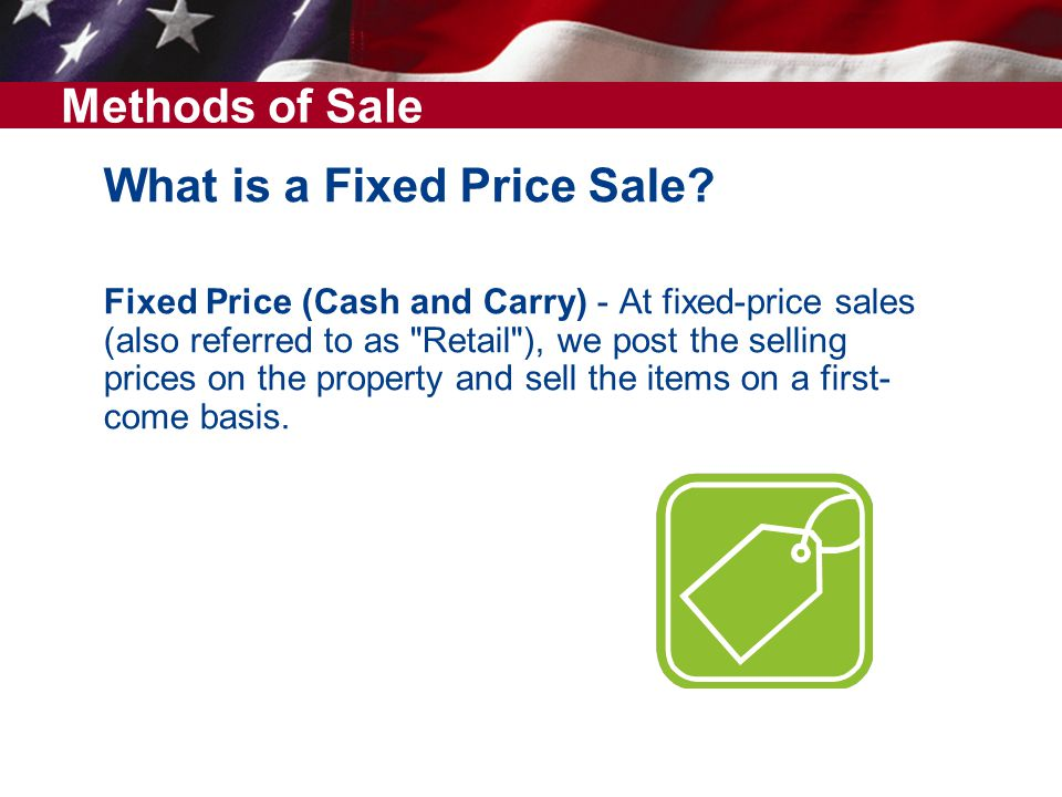 What is a Fixed Price Sale