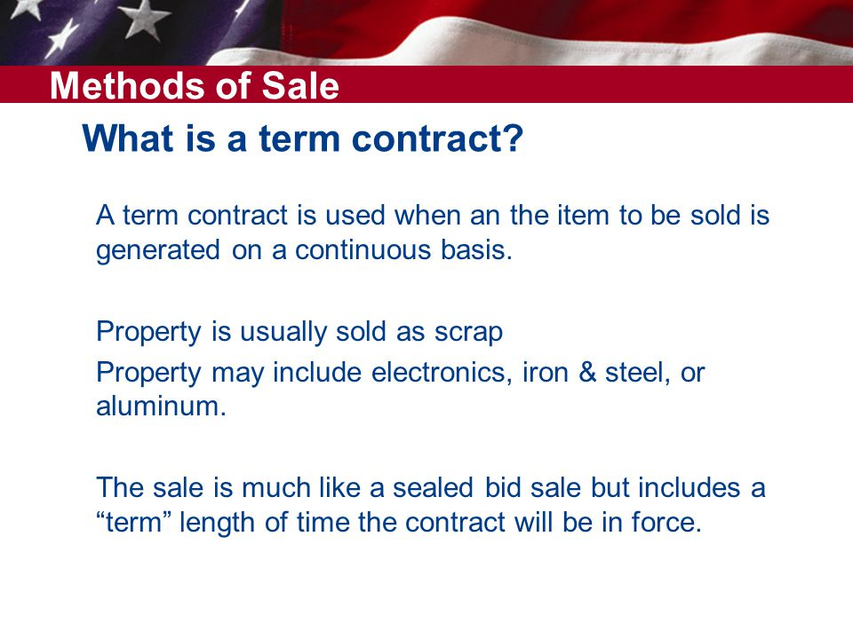Methods of Sale What is a term contract