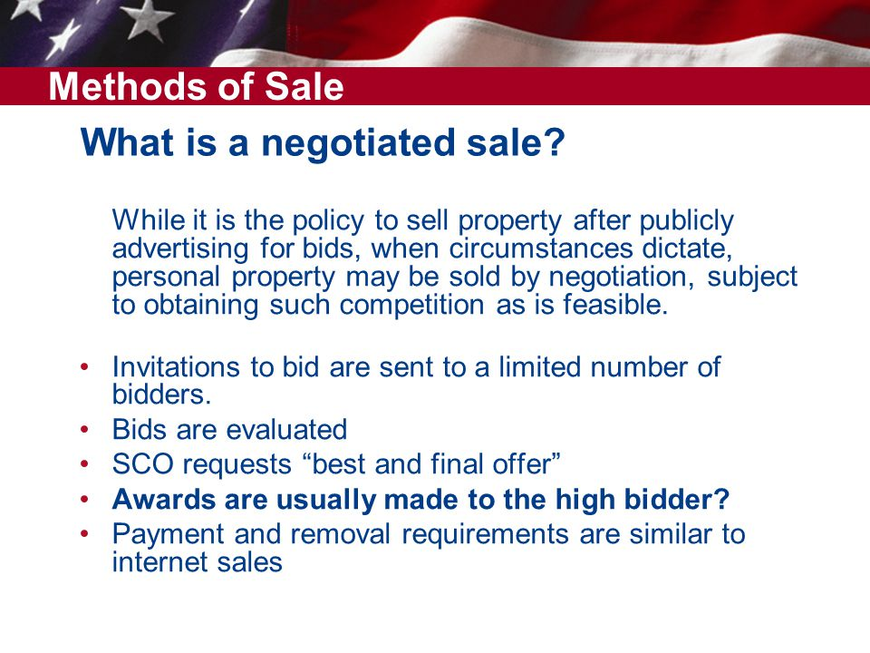 What is a negotiated sale