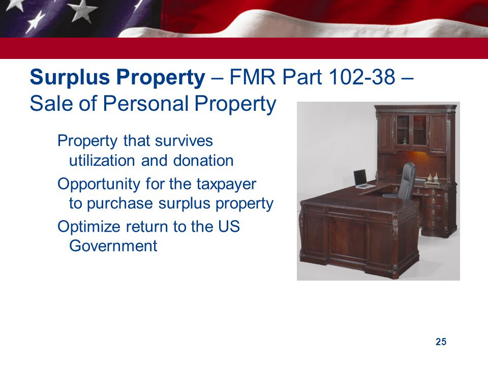 Surplus Property – FMR Part 102-38 – Sale of Personal Property