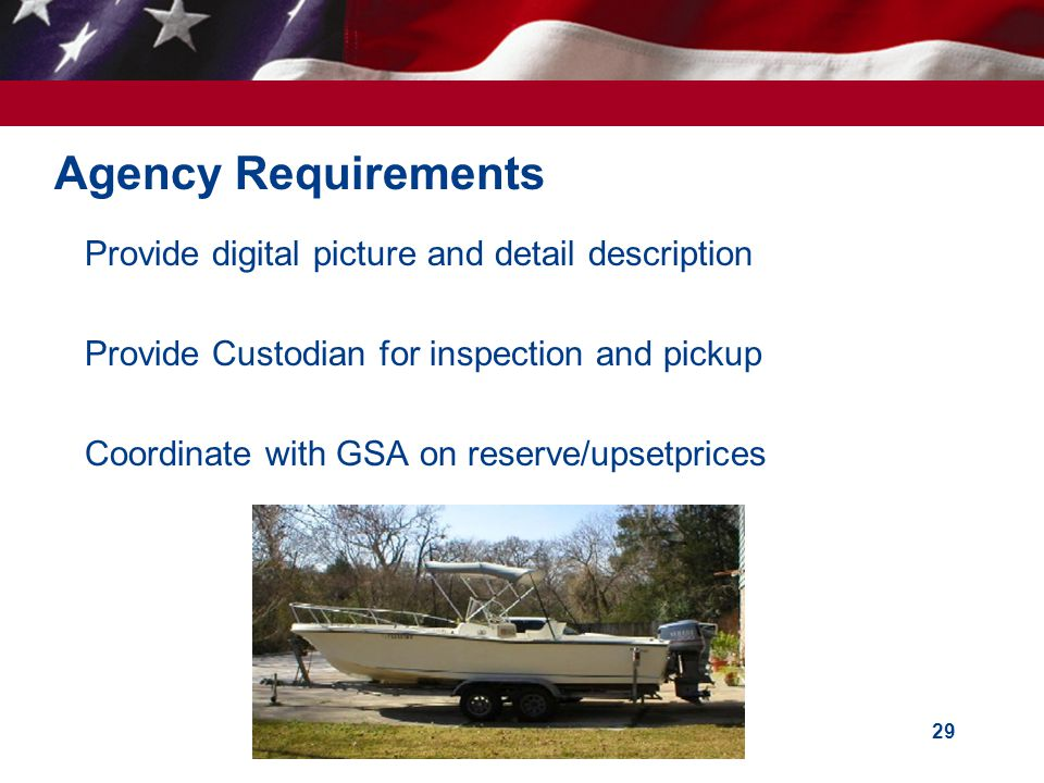 Agency Requirements Provide digital picture and detail description