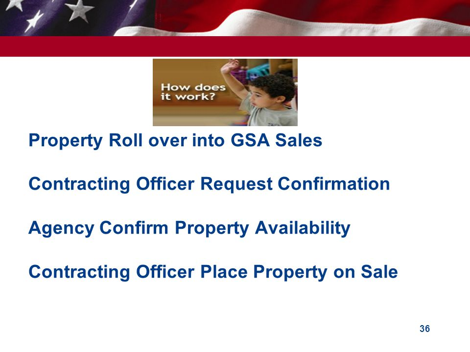 Property Roll over into GSA Sales Contracting Officer Request Confirmation Agency Confirm Property Availability Contracting Officer Place Property on Sale