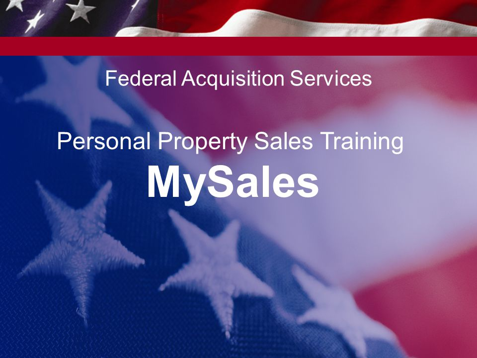 Personal Property Sales Training MySales