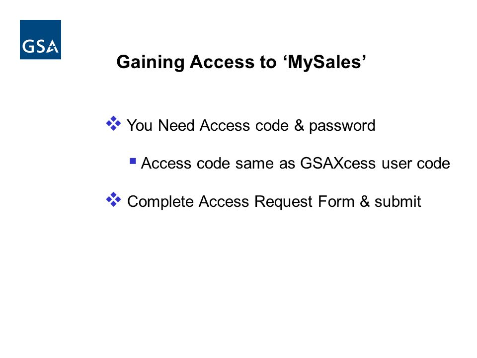 Gaining Access to 'MySales'