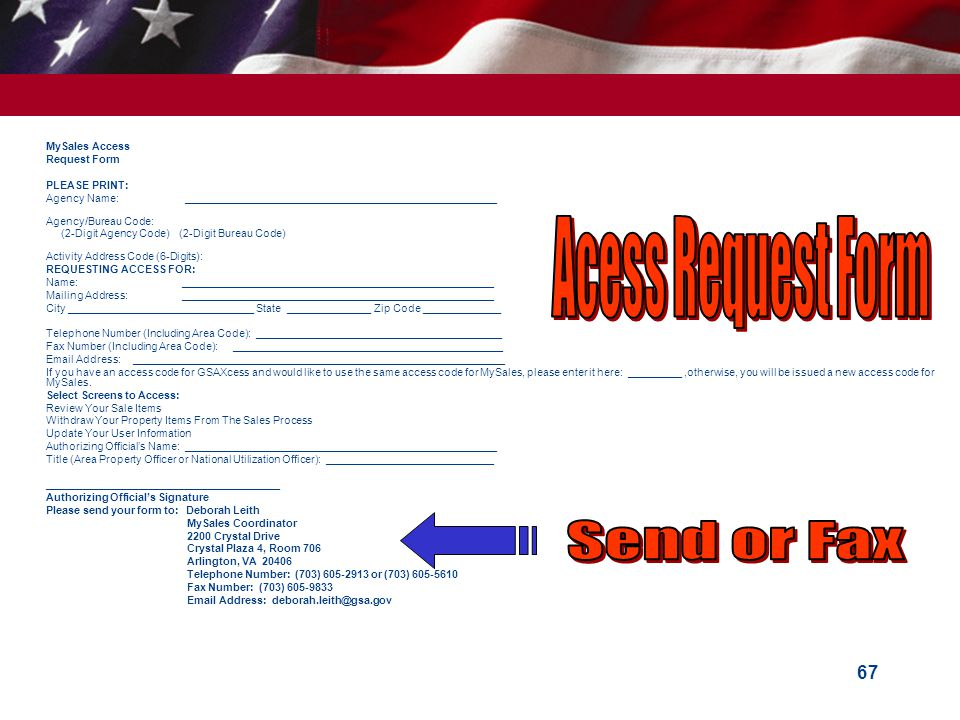 Acess Request Form Send or Fax MySales Access Request Form