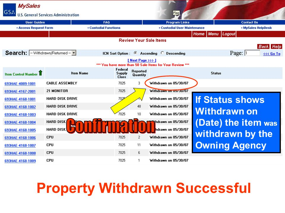 Property Withdrawn Successful