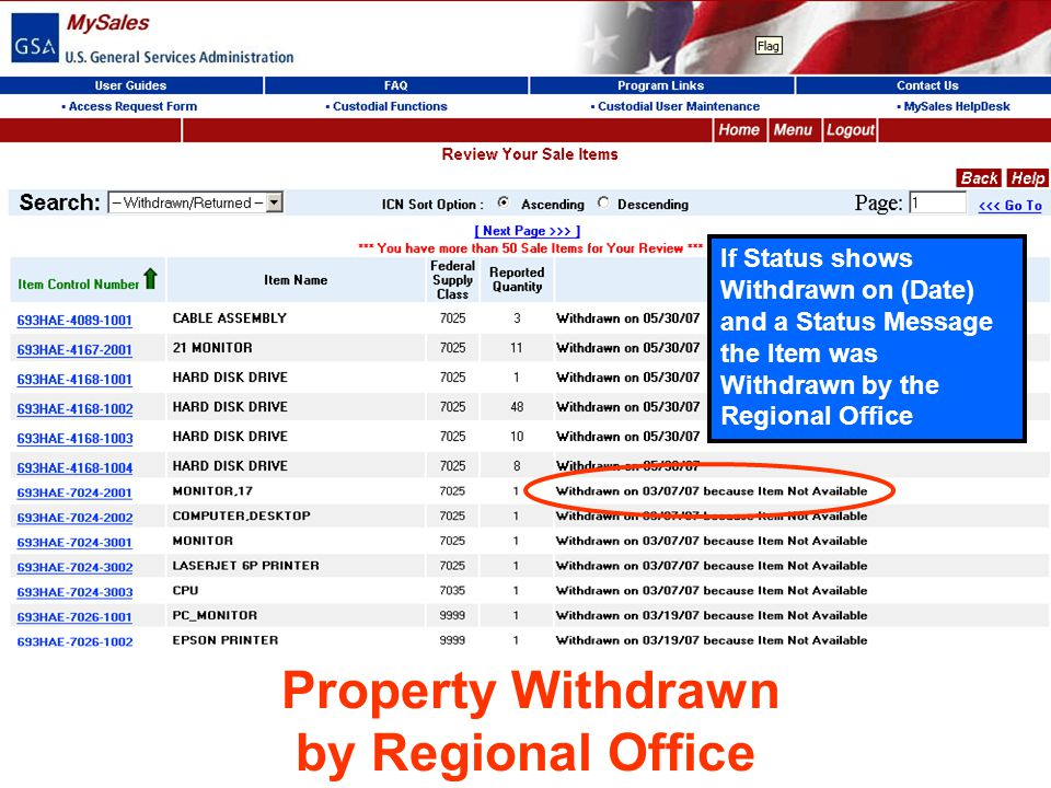 by Regional Office Property Withdrawn