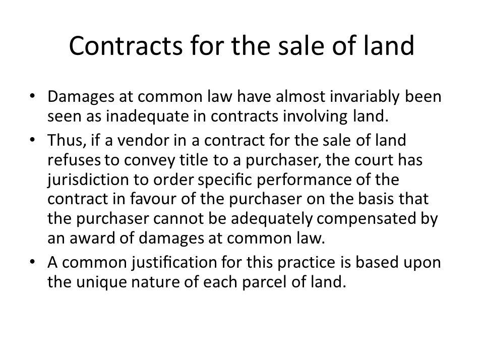 Contracts for the sale of land