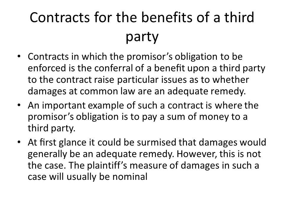 Contracts for the benefits of a third party