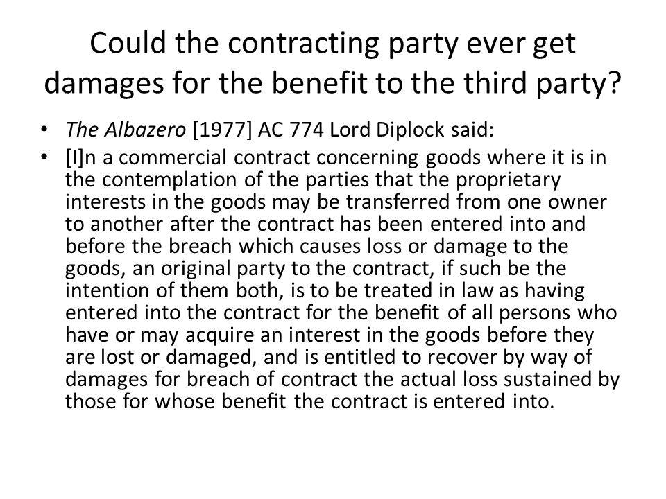 Could the contracting party ever get damages for the benefit to the third party