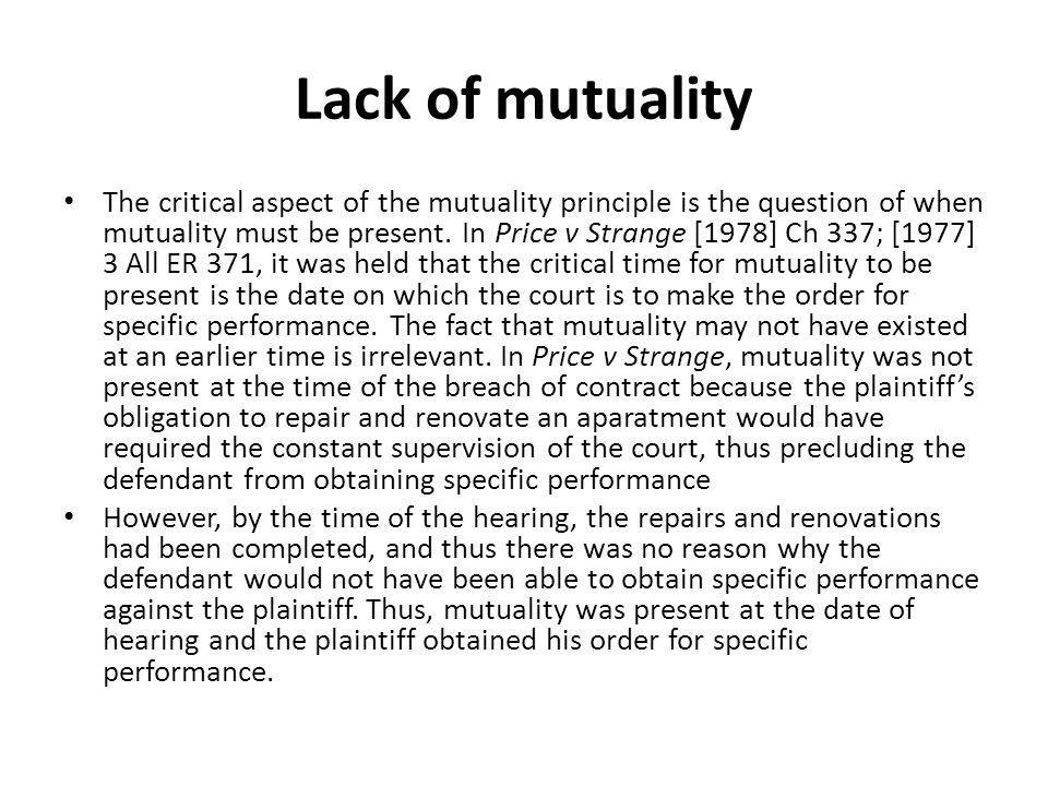 Lack of mutuality