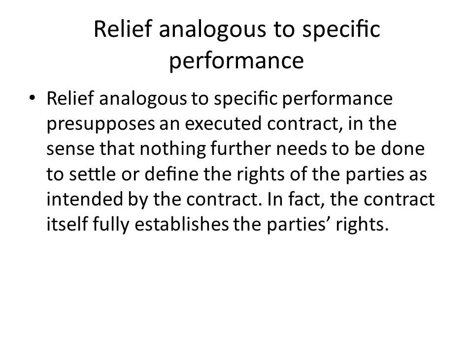 Relief analogous to specific performance