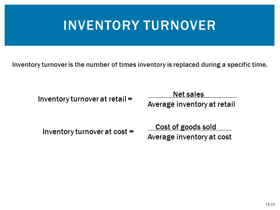 Inventory Turnover Net sales Inventory turnover at retail =