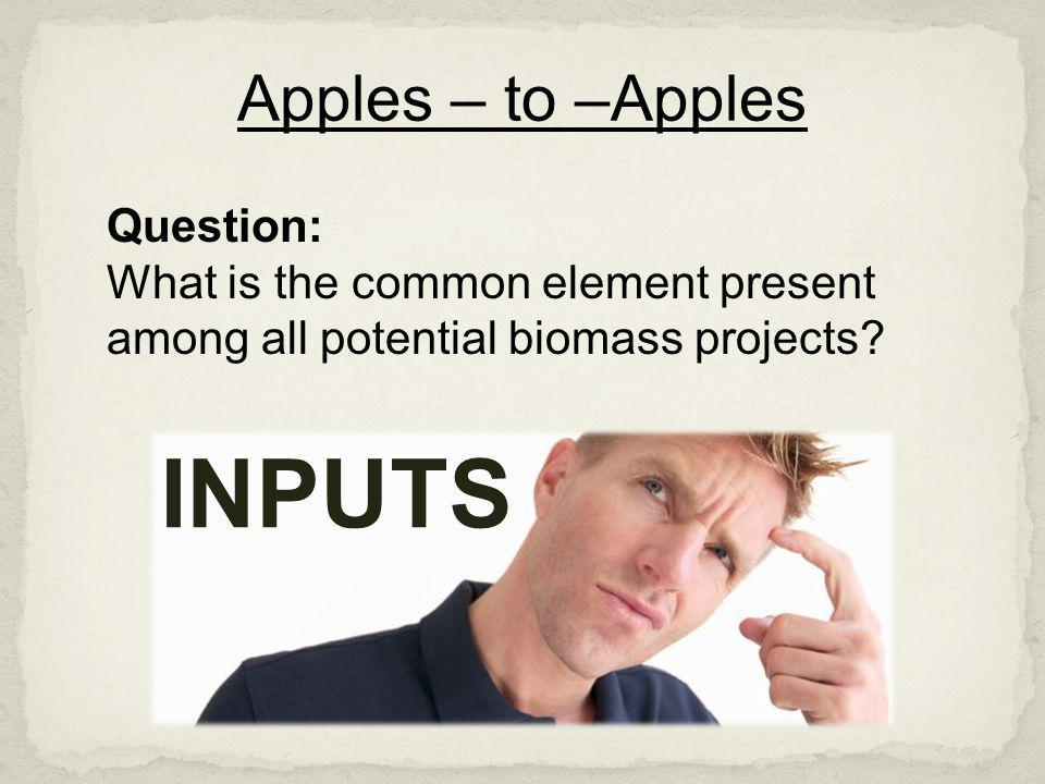 INPUTS Apples – to –Apples Question: