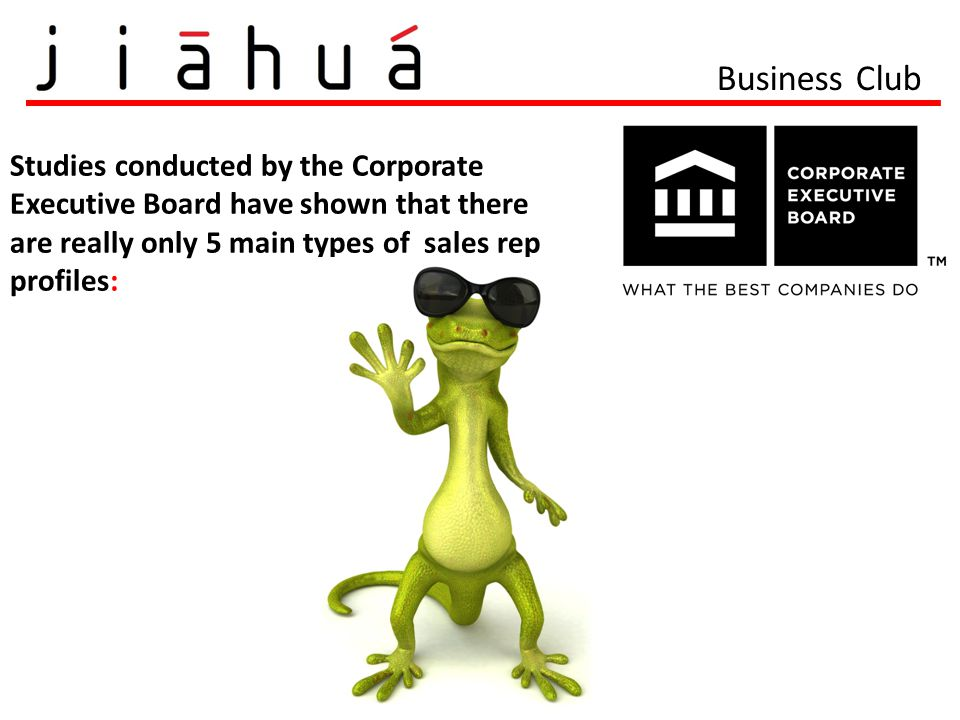 Business Club Studies conducted by the Corporate Executive Board have shown that there are really only 5 main types of sales rep profiles: