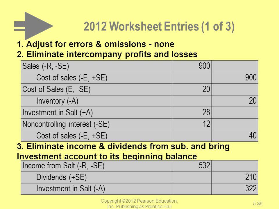 2012 Worksheet Entries (1 of 3)