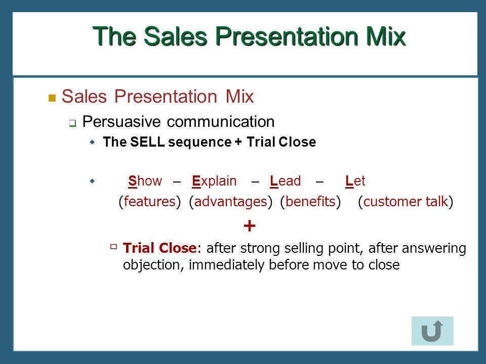 The Sales Presentation Mix