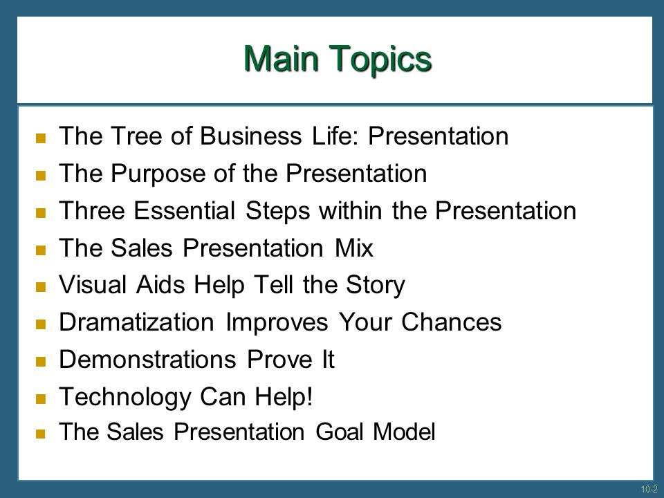 Main Topics The Tree of Business Life: Presentation