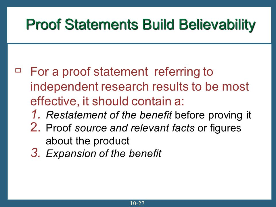 Proof Statements Build Believability