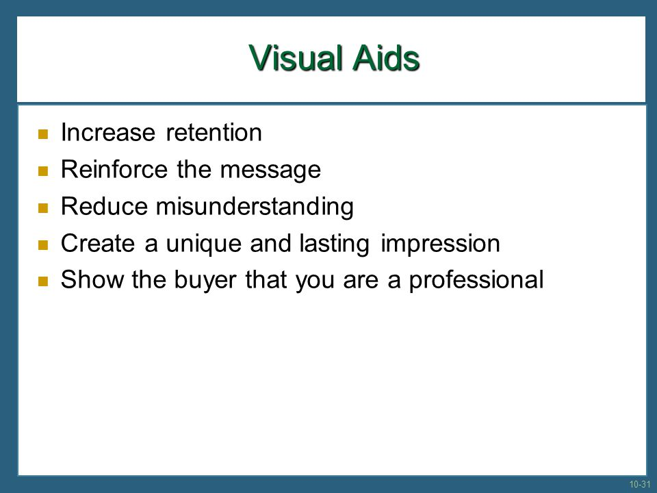 Visual Aids Increase retention Reinforce the message