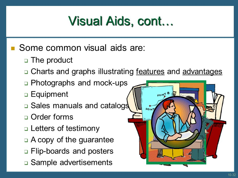 Visual Aids, cont… Some common visual aids are: The product