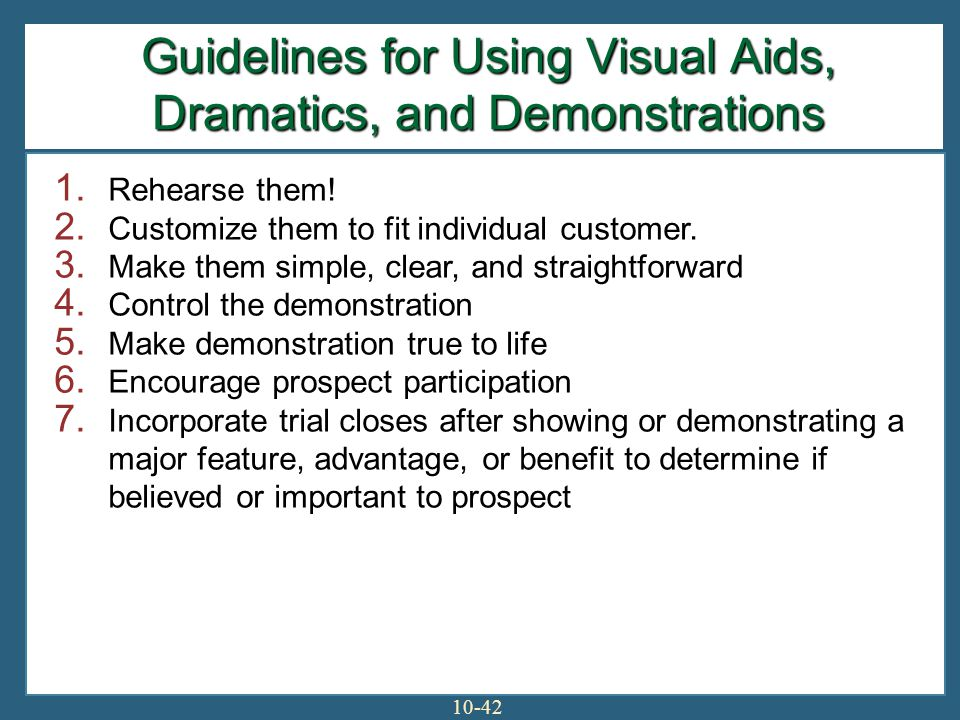 Guidelines for Using Visual Aids, Dramatics, and Demonstrations