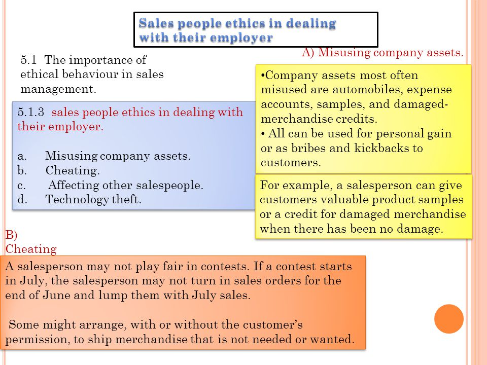 Sales people ethics in dealing