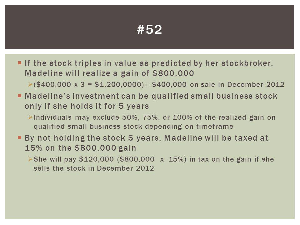 #52 If the stock triples in value as predicted by her stockbroker, Madeline will realize a gain of $800,000.