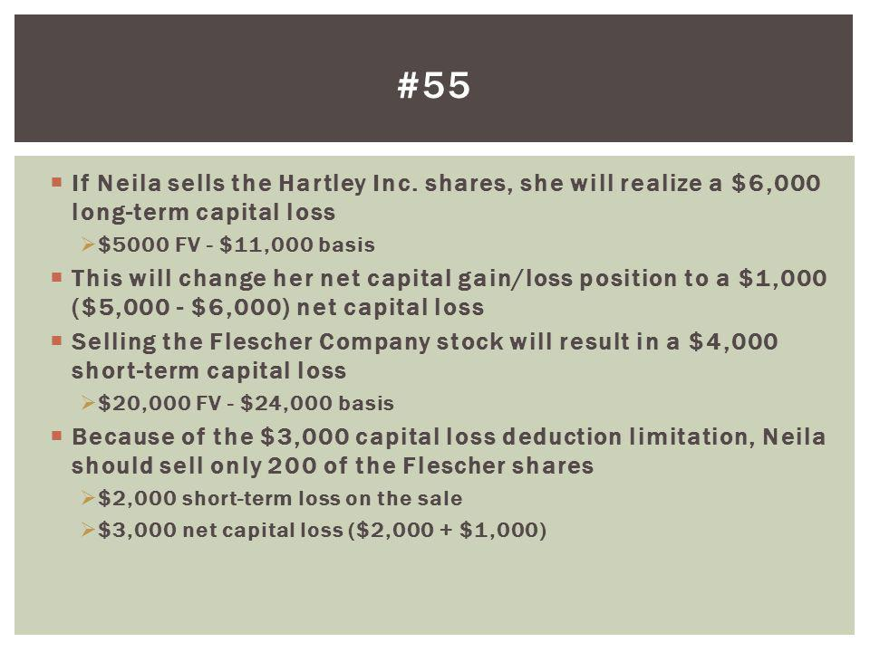 #55 If Neila sells the Hartley Inc. shares, she will realize a $6,000 long-term capital loss. $5000 FV - $11,000 basis.