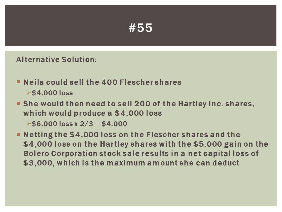 #55 Alternative Solution: Neila could sell the 400 Flescher shares