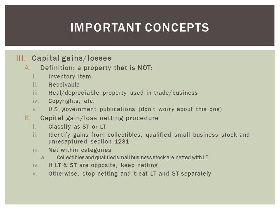 Important concepts Capital gains/losses