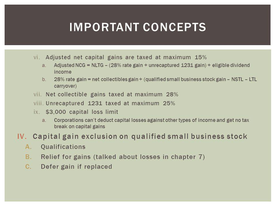 Important concepts Adjusted net capital gains are taxed at maximum 15%