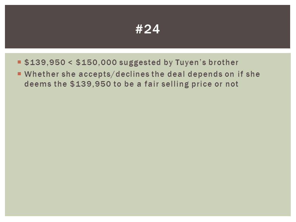 #24 $139,950 < $150,000 suggested by Tuyen's brother